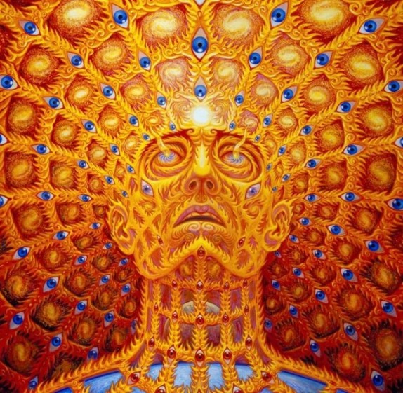 Alex Grey Art Portrait Face Looking Up EYES everywhere